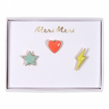 Star, heart, flash pins