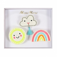 Weather faces brooches